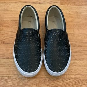 Black Perforated Faux Leather Slip On Sneakers